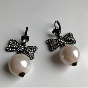 Betsey Johnson Pearl and Bow Earrings